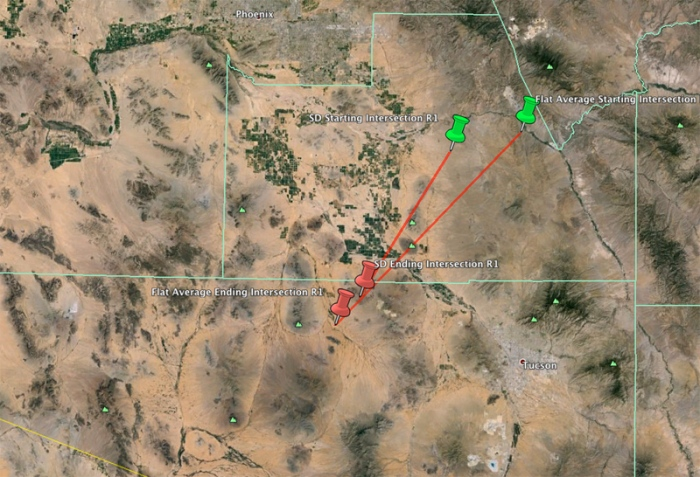 12-11-2013: Over 30 witnesses from Arizona and New Mexico reported a brilliant fireball last night a little after 7:00 PM Mountain Time. A large percentage of reports indicated a delayed boom which generally means the bolide penetrated deep into the atmosphere.