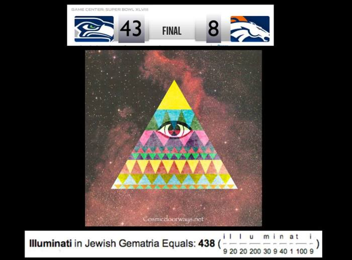 """via Mark Gray: HEADLINES -- BRONCOS 43 SEAHAWKS 8 So what!! you say. But Remember-- in HIGH MAGIC, the KEY is ILLUSION. All last night and all today millions of people around the world are thinking and saying """"Forty Three to Eight"""".  Those numbers are in print. On computer screens. In minds.  On tongues. Everywhere --""""Forty Three to Eight"""" 43-8 is a numeric Code that has been downloaded into your mind. 438 is the Gemetria Code for ILLUMINATI."""