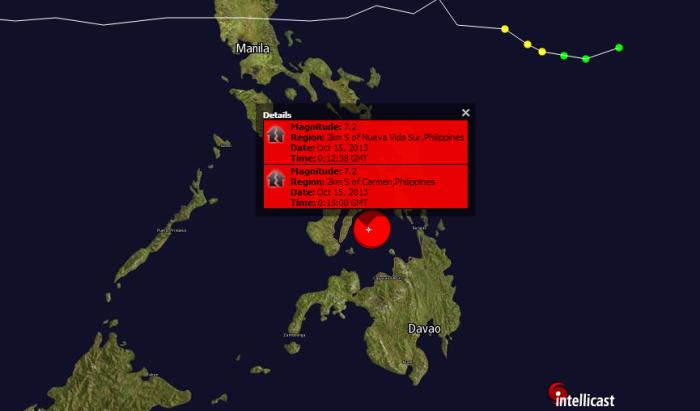 **EARTHQUAKE ALERT** 7.2M EARTHQUAKE STRIKES THE PHILIPPINES. 10-15-2013.