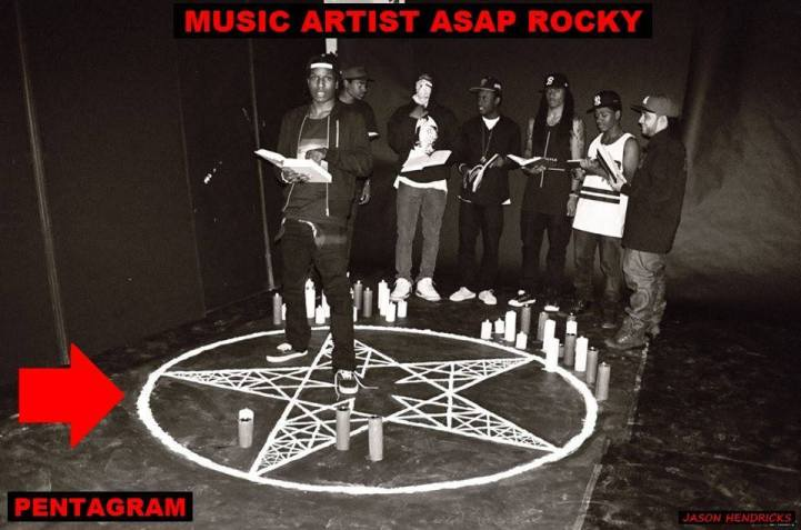 """Jason Hendricks - Just like MOTLEY CRUE above you shouldn't be oblivious when I show you other music artist promoting the exact same symbolism just as you see here music with music artist/rappers A$AP Mob/Rocky showing who they represent in their music video """"Wassup"""" by creating a cocaine INVERTED SATANIC PENTAGRAM on the floor."""