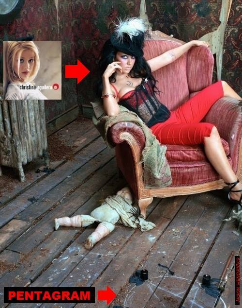 music artist CHRISTINA AGUILERA is sporting a Satanic Pentagram on the floor in a photo shoot.