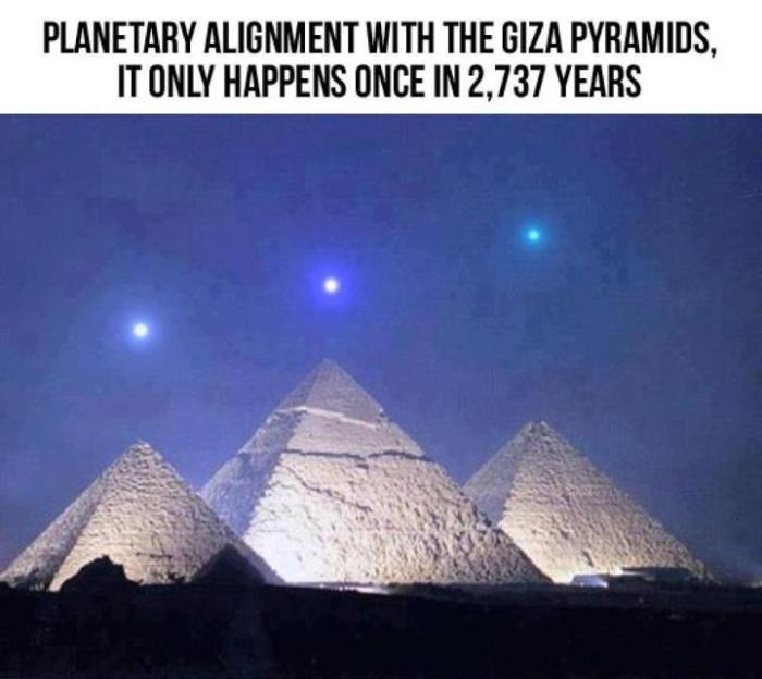 Planetary alignment that will take place Dec 3, 2012 is dead-on alignment with the Pyramids at Giza. Night Sky in Giza, Egypt on December 3, 2012, local time … one hour before sunrise compared with the Pyramids at Giza.