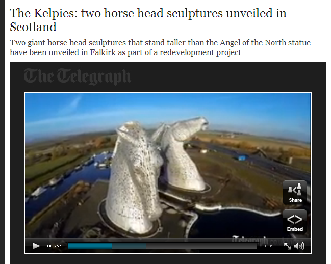 11-27-2013: Construction has been completed on Scotland's newest landmark, two 100ft-tall horse head sculptures, called The Kelpies. The dramatic horse heads are made of 600 tonnes of steel and can be seen from the M9 motorway in Falkirk. They are part of a £43 million redevelopment of around 350 hectares of land between Falkirk and Grangemouth, including new parkland and pathways. It is hoped the site will attract thousands more tourists to the region and boost the local economy. Glasgow artist Andy Scott was inspired by the tradition of working horses in Scotland which used to pull barges along canals and worked in the fields where The Kelpies now stand. A new canal extension linking the Forth and Clyde Canal to the North Sea is expected to open up the inland waterways to more boating traffic in central Scotland.