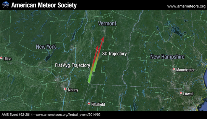 FIREBALL OVER VERMONT - Update -  The estimated trajectory for last night's New England fireball has been plotted: