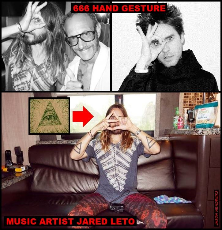 """Jason Hendricks - Just as the man & women are shown in the KMART promotional picture above along with the Disney """"WIZARD OF DIZZ"""" cartoon & other music artists in this comment thread; here you see Music artist JARED LETO from the band 30 SECONDS TO MARS as well shown doing the same exact Satanic 666 hand gesture over his eye along with forming the pyramid over his eye creating the """"All Seeing Eye of Horus"""" (LUCIFER/LIGHT BEARER) symbolism just as the thousands of Satanic stars, celebs & ect... I present do; flaunting there luciferian Freemason agenda to the naïve masses. (Revelation 13:18) """"Here is wisdom. Let him who has understanding calculate the number of the Beast (ANTICHRIST/SATAN), for it is the number of a man: His number is (666)."""""""
