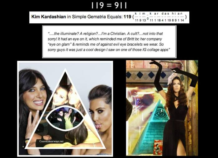 "12-4-2013: Mark Gray  ·   ""What is the illuminate? A religion?… I'm a Christian. A cult?… not into that sorry!"" - Kim Kardashian= 119 = 911 Kim Kardashian says she's NOT a member of the Illuminati after her birthday wishes for friend Brittny Gastineau inadvertently raised suspicions that she is linked to the secret society conspiracy theorists believe controls the world. Confused? Well, on Wednesday, Kardashian posted an Instagram message that read, ""Happy Birthday to my best friend @brittgastineau We've shared soooo many memories over the past years! I love you! The accompanying collage (see below) featured pictures of the two women together — but seemed to evoke the infamous eye-in-a-pyramid image that's commonly associated with the Illuminati. One month after the Birthday wish seen at Left, the Kardashian Christmas card was released -partially seen at right."