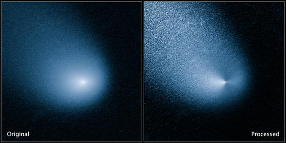 A comet poised to give Mars a close shave later this year is now blasting dust into space from at least two jets on its surface, photos from the Hubble Space Telescope reveal.