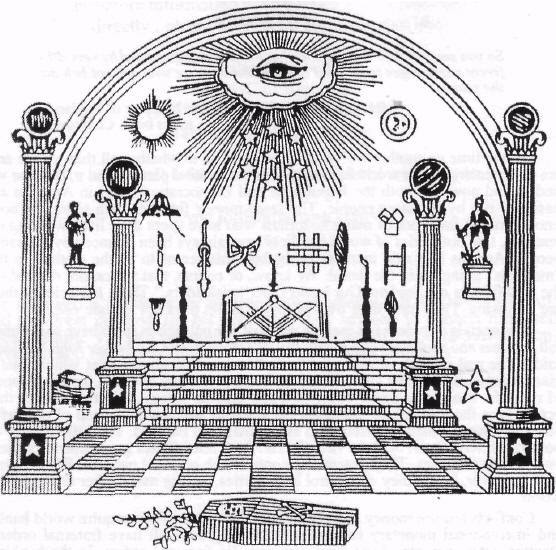 "Many of the symbols found in this Masonic image are found in the hologram ""performance""."