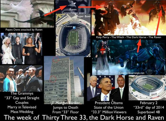 via Mark Gray: This was the week of 33, the Dark Horse and the Raven. The Grammy's live Televised 33 Gay and Straight couples in a Mass Wedding. A JP Morgan Banker Jumped to his death in London, from the 33rd floor of a sky scraper. President Obama- the Dark Horse's State of the Union made headlines as 33.3 Million Americans tuned in- the lowest numbers in 14 years. The Super Bowl will be held on February 2, the Pagan Holy Day of Imbolc- and the 33rd day of the Year. The Dark Horses from Colorado will play the Sea- Ravens from Washington- The Two States that recently legalized the recreational use of Marijuana.  The Pope released his Doves with Prayers for Ukraine-close to the Olympics- and in the midst of a civil war divided by a future aligned with Russia or the European Union- the Doves are attacked by Ravens- a bad Omen. Katy Perry performed as a Witch at the Grammys with her Dark Horse-Satanic Body Guards and Ravens. The Superbowl half Time show will feature Bruno MARS- oddly the Constellation of the Raven will be over head along with the Planet of Mars the God of War. As a side note- the Red Hot Chili Peppers will perform. Oddly- their video - Death of a martian (martians are from mars) contains martians - horses and ravens.... strange but true. WE NOW START THE CHINESE YEAR OF THE HORSE.