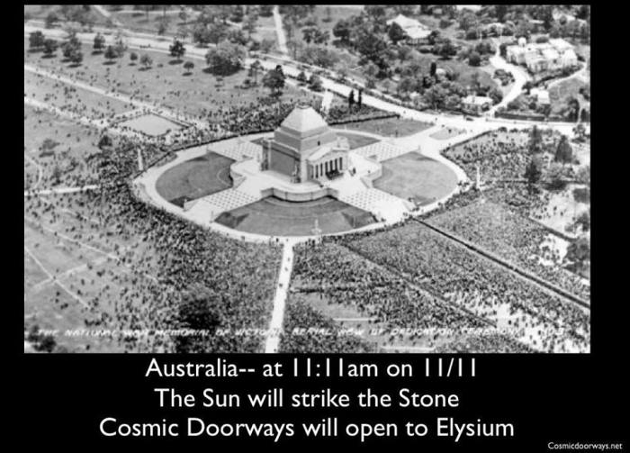 11-11-2014:  The Shrine Of Rememberence in Melbourne, Australia.  Keys to Cosmic Doorways -   11/11 at 11:11 ---- There so many Temples and Memorials that are activated today with Ritual and Ceremony---