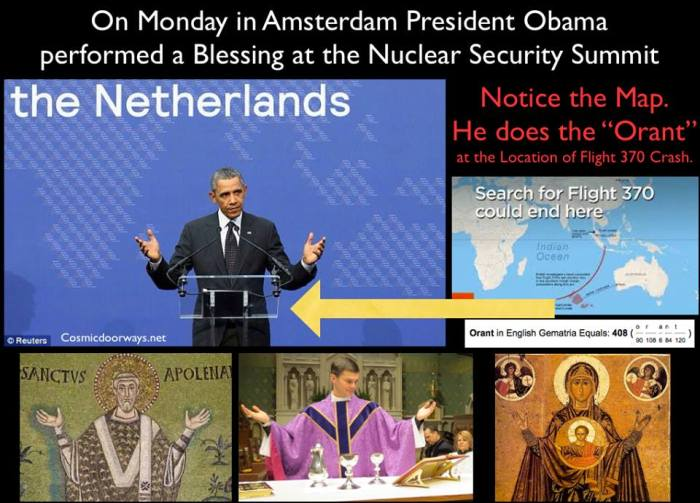 """Mark Gray 3-27-2014: We have to know what we're looking at...... Barack Obama = 408 Orans, a loanword from Medieval Latin translated as one who is praying or pleading, also Orant or Orante, is a figure in art with extended arms or bodily attitude of prayer, usually standing, with the elbows close to the sides of the body and with the hands outstretched sideways, palms up. The orans posture was practiced by both pagans and Jews before it was adopted by the earliest Christians. Christians saw the position as representing the posture of """"Christ on the Cross""""; therefore, it was the favorite one of early Christians. Until the 9th century, the posture was sometimes adopted by entire congregations while celebrating the Eucharist. On Monday in Amsterdam President Obama performed a Blessing """"Orant"""" at the Nuclear Security Summit. What is of interest is..... he stood in front of a map of the World at the location that matches the calculated position of the Flight 370 Crash........ as he talked about """"NUCLEAR WEAPONS"""""""