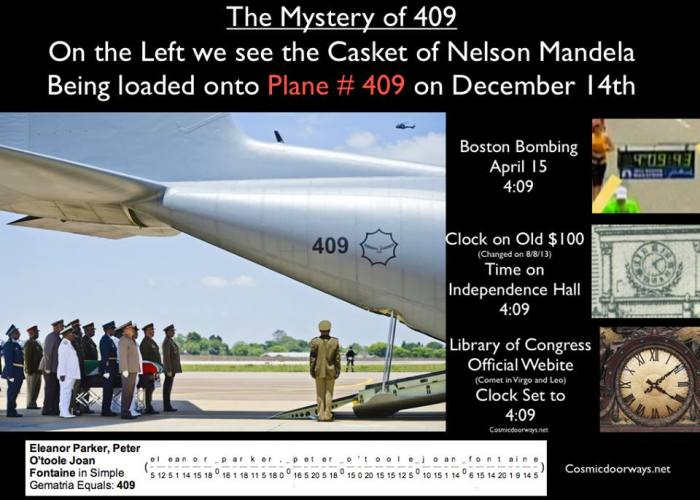 """via Mark Gray: I have to say, this one blows my mind----- Ever since the Boston Bombing I have been following the """"409"""" Code. But I never thought """"409"""" would show up during the Nelson Mandela Funeral. The First Bomb of the Boston Marathon went off at 4:09 into the race. 409 is a Computer Error Code that means """"CONFLICT"""" Independence Hall in Philadelphia is engraved on the back of the $100 Bill--- the clock on Independence Hall is set to 4:09 Go to the Library of Congress Website--- the official reading room clock has a statue of the God Saturn surrounded by a Zodiac that is being blasted with a Comet ---the clock is set at 4:09 During the Week of the Mandela Funeral the World lost Two of our beloved actresses and one actor.....They have all died in the same week. Eleanor Parker, Peter O'Toole and Joan Fontaine. Eleanor Parker, Peter O'Toole, Joan Fontaine = 409 And finally I saw a Picture of the Nelson Mandella Funeral from December 14th-- (the One year anniversary of Sandy Hook)--- And there was the Coffin of Mandela being loaded onto a Plane. That's right---- PLANE # """"409"""""""