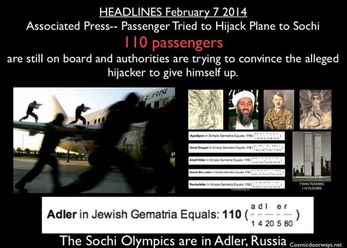 "via Mark Gray: HEADLINES February 7, 2014 Sochi (Adler) Russia Passenger Tried to Hijack Plane to Sochi A Ukrainian passenger on an Istanbul-bound flight Friday claimed there was a bomb on board and tried to hijack the plane to Sochi, Russia, where the Olympics are kicking off, an official said. The plane from Kharkiv, Ukraine, landed safely at Istanbul's Sabiha Gokcen airport, but ""110"" passengers are still on board and authorities are trying to convince the alleged hijacker to give himself up. Notice the HEADLINES read --- ""110"" Passengers are Hostage! SYNCHROMYSTICALLY---- --- I had studied the numbers to try and get a read on which ones might come at Sochi and I said to look for the number 110--- My Post---February 6, 2014 An Auspicious Number? --- 110 We will be hearing the name Sochi over and over this month. But remember.... the Olympic Park is in ADLER, Russia. ADLER means EAGLE And in Gemetria, ADLER = 110 When America is concerned, the number 110 has not been a good sign. There were 110 stories in each of the Twin Towers. Osama Bin Laden = 110 Also, Adolph Hitler = 110 Apollyon, the destroyer and king of the bottomless pit in the Bible is also 110 in Gemetria. *****This is a great example showing how these numbers are threaded in the fabric of the matrix-----showing it may be possible to predict upcoming events using Gemetria."