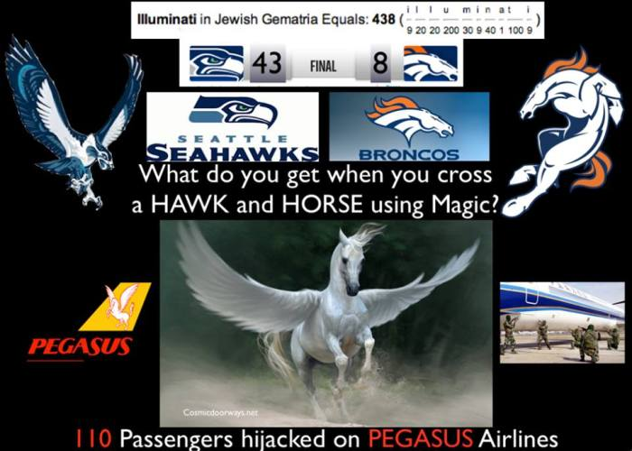 "via Mark Gray: Aparently if you stick Horses and Birds in the news headlines all week the thought will magically manifest as a Hybrid of the two in the World someplace---PEGASUS. ""PEGASUS"" Airlines Hijacked in Ukraine- 110 Passangers on Board."