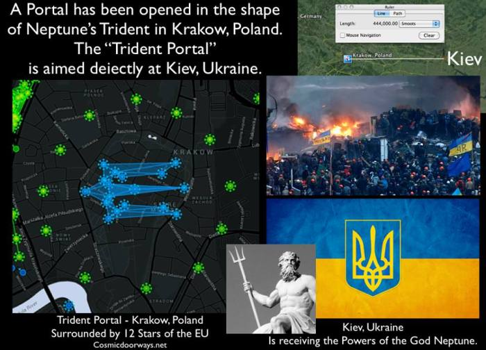 "Mark Gray 2-24-2014:  Neptune and his Trident are currently empowering Kiev, Ukraine. A Portal has been opened in the shape of Neptune's Trident in Krakow, Poland. This ""Trident Portal"" has just opened and is aimed deiectly at Kiev, Ukraine. The God Neptune and his Trident watched over the Sochi Olympics. And the Planet Neptune was actually in the Opening Ceremonies. Neptune's Trident also appeared in America during the Superbowl. And the National flag of Ukraine is a Trident. The Trident also guards the entrance to the Underground 911 Memorial in New York City."