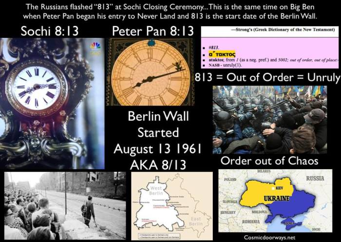 "Mark Gray 2-24-2014: The Russians flashed ""813"" on the Grand Father Clock during  the Sochi Closing Ceremony... This same time, ""813""... was on Big Ben when Peter Pan began his entry into Never Never Land...  The Bible Concordance says the number--""813"" is the word ""Ataktos"" and means ""out of order"" and ""unruly""---- I couldnt help but reflect on Ukraine and how the Russians must view the protestors in Ukraine as Unruly and Out of Order...... Ukraine risks being torn in half---East and West --- Half European Union and half Russian-- Oddly, ""8/13"" was the ground breaking and start date of the Berlin Wall--- the ""Iron Curtain""--that divided Germany in half in 1961. Remember the motto ""Order Ab Chao"" Order out of Chaos 813= Brotherhood of Darkness"