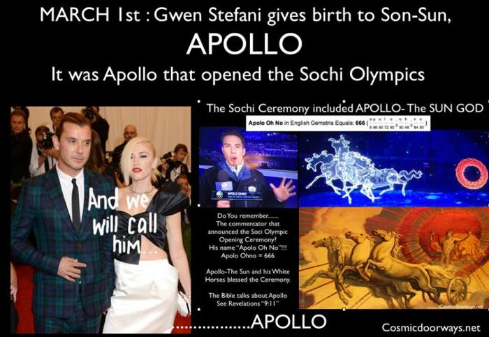The Apollo Meme Continues on the World Stage.... MARCH 1st : Gwen Stefani gives birth to Son-Sun, APOLLO