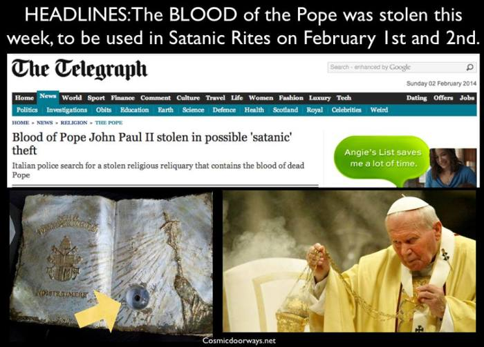 "Photo by Mark Gray: NBC NEWS ---ROME — ""A relic containing drops of late Pope John Paul II's BLOOD has been stolen, and Italian police speculate the thieves may want it for SATANIC RITES."