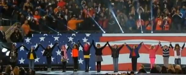 "2-02-2014: The opening of the halftime show for last night's Super Bowl featured a group of children holding hands while standing in front of a large digital display flashing various images, beginning with portions of the American flag. The children began singing the lyrics from the song ""Billionaire."" Well, not quite the exact lyrics, as they are neither suitable for children nor the venue."