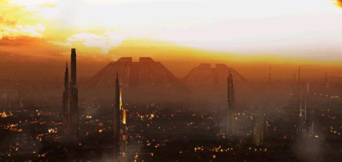 "(Blade Runner) ""Tyrell Corporation"" Pyramid buildings."