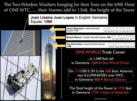11-13-2014: Keys to Cosmic Doorways - What are the odds?? The Two Window Washers hanging for their lives from the 69th Floor of ONE WORLD TRADE CENTER….. Their Names add to 1368, 1368 is the height of the Tower. Numbers don't lie. JUAN LIZAMA JUAN LOPEZ = 1368