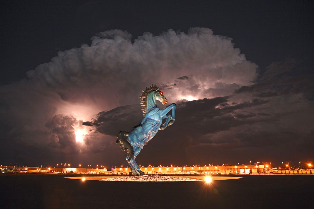 "At the Denver National Airport you are greeted by a 32' Statue of ""The Horse of the Apocalypse"". In an amazing twist of events, the artist was killed by this sculpture during it's creation."