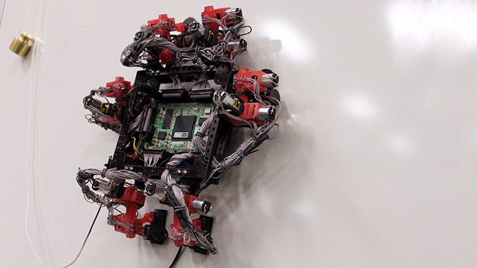 A handout photo released by the European Space Agency the six-legged Abigaille climbing robot, able to transition from vertical to horizontal surfaces. 1-03-2014