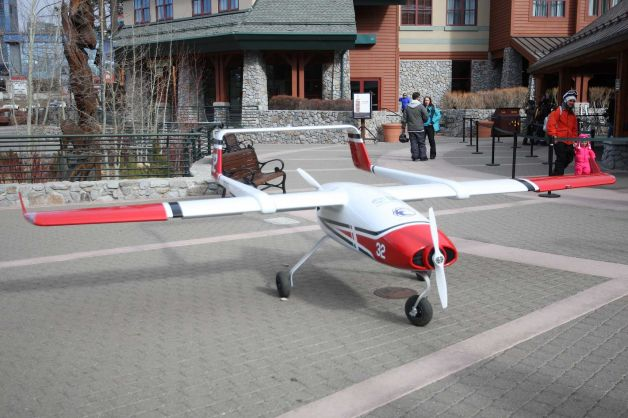 The photo shows the Desert Research Institute'snew cloud seeding drone at Heavenly Village in South Lake Tahoe, Calif. The drone has the ability to release silver iodide into a storm and generate additional rain or snowfall.