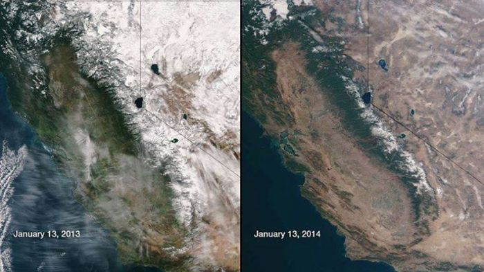 Record Breaking Heat in So Cal Only Tells Part of the Story Today: LA:85 Burbank:86 Newport Beach:84 Elsinore:85  Real Story: What the Sierra Snowpack should look like (2013), vs 2014. [[Fr:Meteorologist Pablo Pereira]] (Photo Courtesy:NASA)