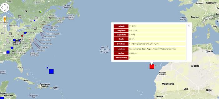 Unusually strong shaking at El Hierro Volcano & La Palma (Magnitude 5.1 earthquake) 12-27-2013