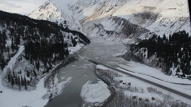 An avalanche on Jan. 27, 2014, blocks the only road into Valdez, Alaska, creating massive flooding in the region. 1-27-2014