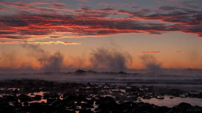 """Arctic Smoke"" in Northampton, NH January 4, 2014, by ""jblash.""  ""The subzero air temperatures over the warmer ocean caused sea smoke to billow up from the water, all the way to the horizon."""
