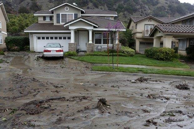 3-1-2014: Mud flows in Azusa, south California, The fast moving low pressure area brought downpours, hail and caused mud flows and local flooding in California.