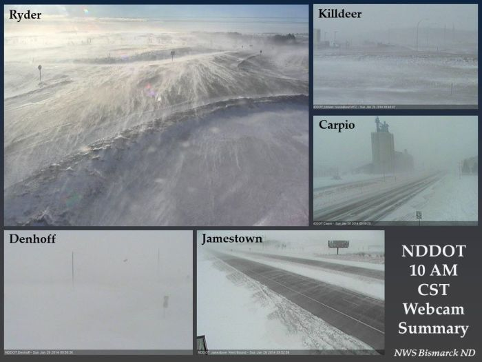 Major blizzard underway in North Dakota with winds as high as 60mph. Blizzard Warnings also in effect in parts of South Dakota, Minnesota and Iowa. 1-26-2014