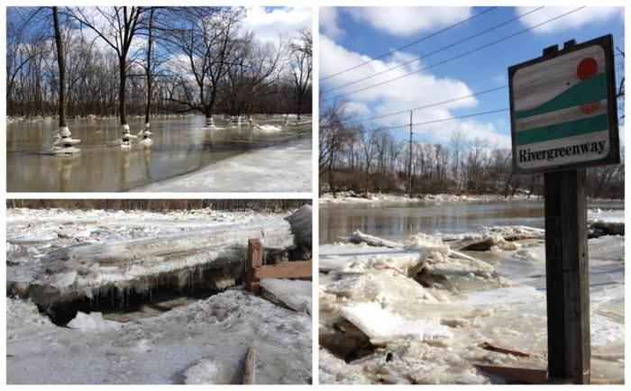 The melting snow and rain followed by extremely cold temps are responsible for this is ice jam on the Wabash River in Bluffton Indiana.  2-26-2014