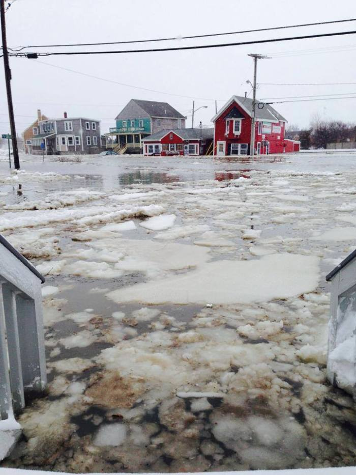 After getting hit with nearly 2 feet of snow in Massachusetts last night some coastal flooding to contend with in Brant Rock today.  1-03-2014