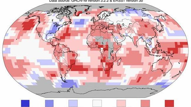 Global Temperature Anomolies This image, from NOAA, shows areas of above average (red) and below average (blue) temperatures.