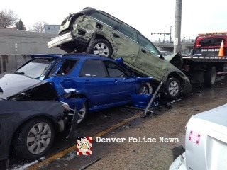 (@DenverPolice), a total of 104 vehicles were involved in a fatal pileup that occurred on I-25 Northbound in Denver, Colorado on Saturday. 3-1-2014