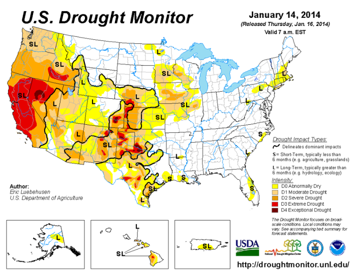 According to the January 14, 2014 U.S. Drought Monitor (http://1.usa.gov/1asm0tu), moderate to exceptional drought covers 34.4% of the contiguous United States, an increase from last week's 33.2%. The worst drought categories (extreme to exceptional drought) also increased considerably from 4.1% last week to 6.4%. Image courtesy of www.drought.gov
