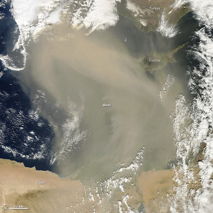 Dust Storm over the Mediterranean Sea Southwesterly winds sent a cloud of Saharan dust out of Egypt and across the eastern Mediterranean Sea in March 2014. The Moderate Resolution Imaging Spectroradiometer (MODIS) on NASA's Terra satellite acquired this natural-color image on March 2, 2014. The dust grounded planes and triggered air quality warnings in Israel, according to media reports. In Cyprus, dust levels were five times higher than normal. Read more at http://earthobservatory.nasa.gov/NaturalHazards/view.php?id=83268&eocn=home&src=fb