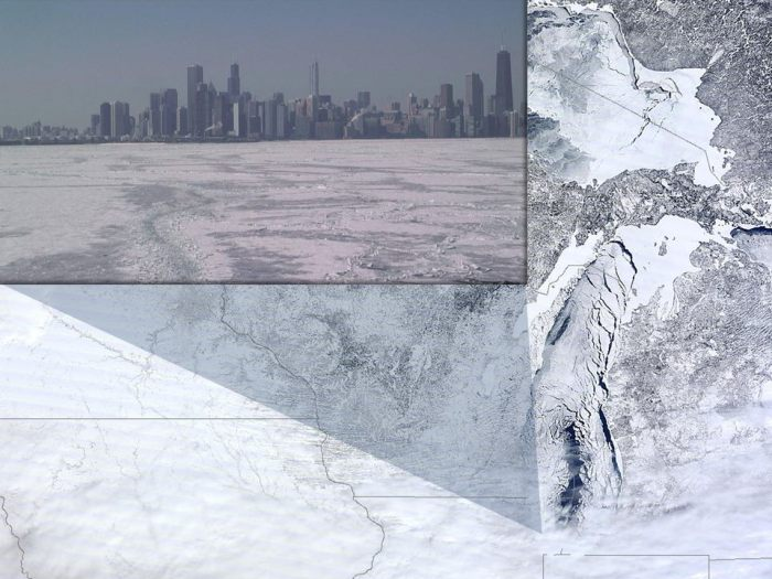 3-6-2014: Here's a couple of amazing images which show the large extent of ice cover on Lake Michigan on Wednesday. Hard to imagine from these pictures that the Great Lakes shipping season is set to begin in a couple of weeks, with the opening of the SOO locks between Lake Superior and the lower Great Lakes. The polar orbiter satellite image is from CIMMS (UW Madison and NASA), while the ice level image is from a web cam on the Harrison-Dever Crib off of Chicago (NOAA/GLERL). Ice coverage on the Great Lakes is up to 91.8%, the second highest % coverage on record since reaching 94.7% in 1979!