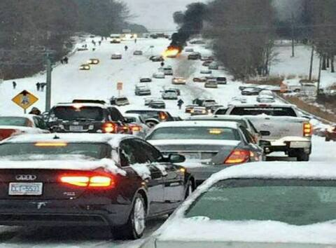 Gridlock in Raleigh, North Carolina. 2-12-2014