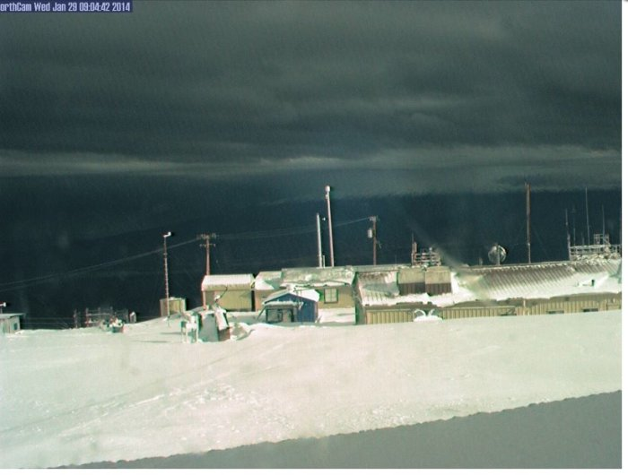 "The picture below is NOAA's Mauna Loa Observatory in Hawaii. It snowed there today, not impossible but very, very unusual.  What's really weird, is the amount of snow. NWS has issued a Winter Storm Warning for Parts of the big Island. Up to 6"" of snow is possible. Has the world turn upside down? Record Warmth in Alaska, and now Winter Storm Warnings in Hawaii. 1-29-2014"