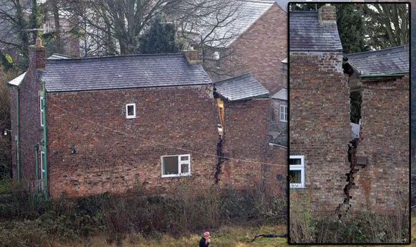 The UK - The sinkhole opened up a massive cavern causing the house to tear apart.