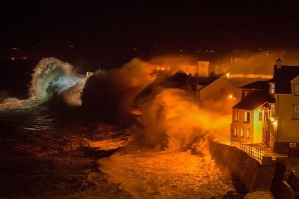 Waves breaking over Lahinch (Co Clare, Ireland) promenade during storm conditions on Friday night. — in Lahinch, Ireland.