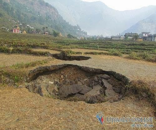 70 homes at risk from multiple sinkholes in Kaski, Nepal. 2-02-2014