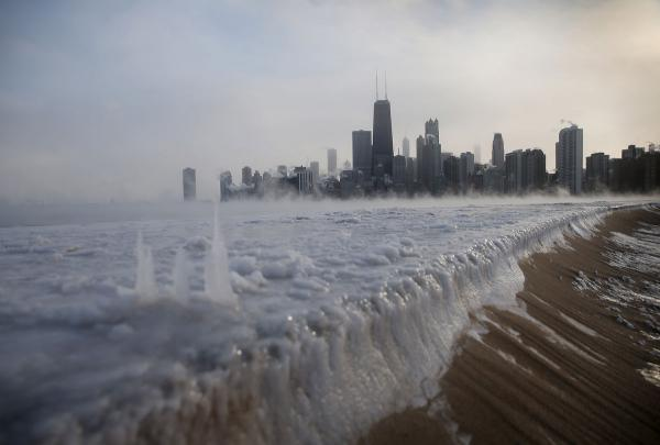 Ice builds up along Lake Michigan at North Avenue Beach as temperatures dipped well below zero in Chicago on Jan. 6, 2014; Photographer: Scott Olson/Getty Images