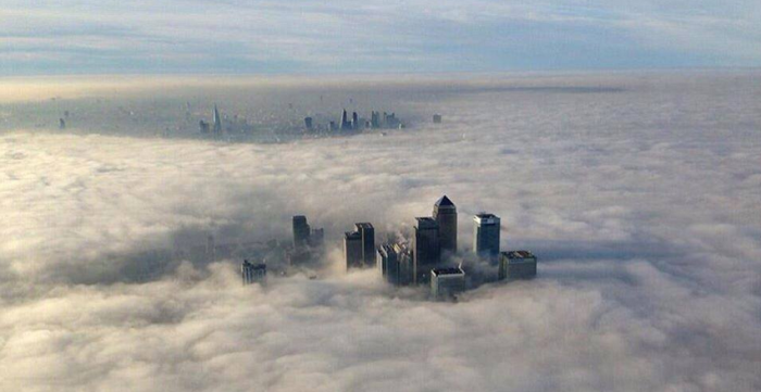 3-13-2014: What London woke upto this morning some flights where cancelled this morning at Gatwick Airport due to the dense fog.  Image from I Am Proud To Be British.