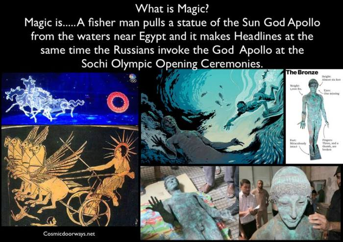via Mark Gray 2-10-2014: What is Magic? Magic is..... A fisher man pulls a statue of the Sun God Apollo from the waters near Egypt and it makes Headlines at the same time the Russians invoke the God Apollo at the  Sochi Olympic Opening Ceremonies.