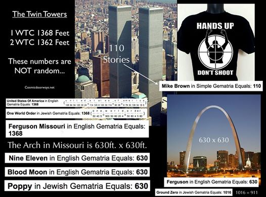"""11-8-2014: Keys to Cosmic Doorways -   The Events in Ferguson Missouri are Powerful on many levels. Citizens vs. Police Black vs. White Chaos vs. Order Guns vs. No Guns Etc.. Ferguson is a Crime Scene that has the potential to change the laws in America, just the way 911 did. 1 World Trade Center, before it was destroyed, was """"1368"""" feet tall. UNITED STATES OF AMERICA = 1368 ONE WORLD ORDER = 1368 FERGUSON MISSOURI = 1368 Missouri has one of America's greatest Cosmic Dorrways- The St. Louis Arch --- It is 630 Feet x 630 Feet---- FERGUSON = 630 BLOOD MOON = 630 NINE ELEVEN = 630 POPPY = 630 CLITORIS = 630 Ferguson and the Missouri Arch are """"Hot Spots"""", They are """"Ground Zeros"""". GROUND ZEROS = 1106 = 911 GROUND ZERO = 1016 = 911 There were """"110"""" Stories in each of the TWIN TOWERS. In Ferguson it was, MIKE BROWN = 110 that got shot and killed"""